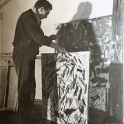 Herbert Zangs in seinem Düsseldorfer Atelier, 50er Jahre