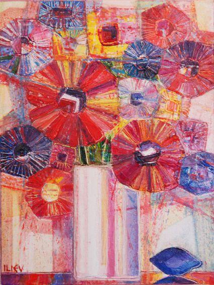 Stilleben mit Pflaumen, Öl auf Leinwand, 40 x 30cm