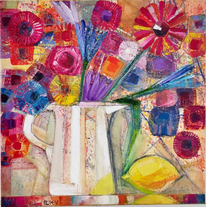 Blumen mit Zitrone, Öl auf Leinwand, 40 x 40cm