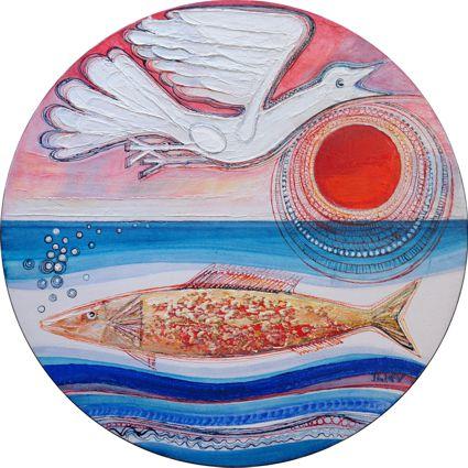 Vogel - Fisch, Öl auf Leinwand,Ø 40cm