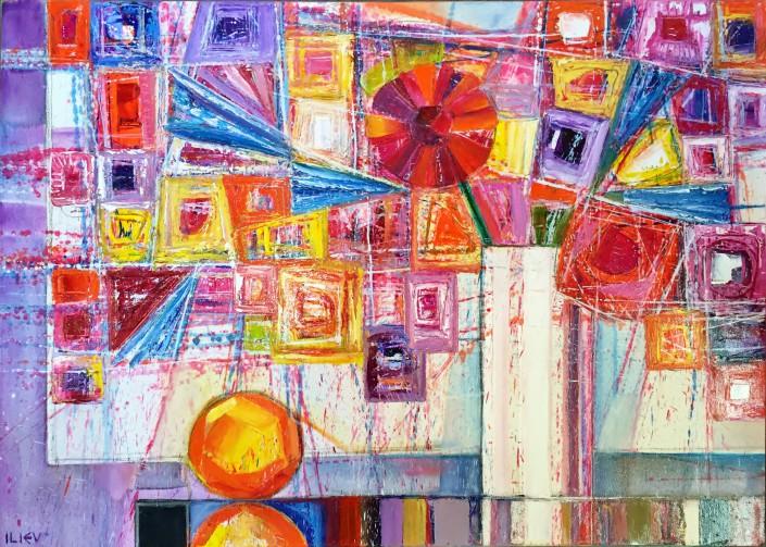 Stilleben mit Apfel, Öl auf Leinwand, 50 x 70cm
