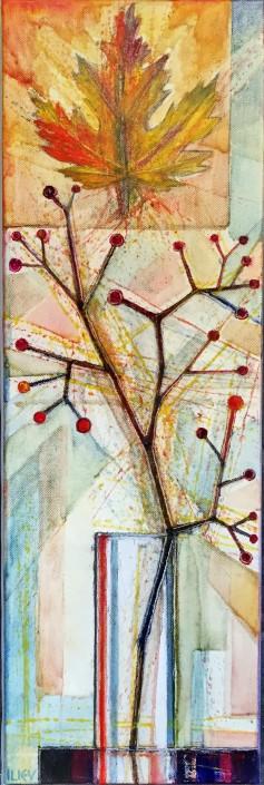 Blätter I, Öl auf Leinwand, 60 x 20cm