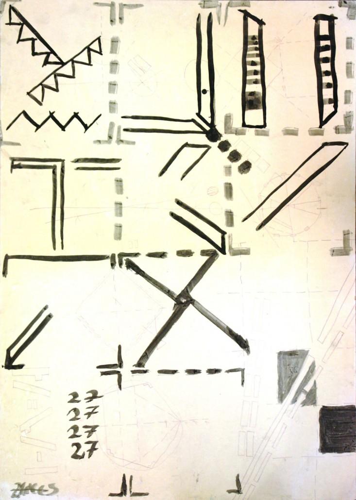 Zangs 78 - Schwarze Temera und Kuli auf Karton - 85x60cm
