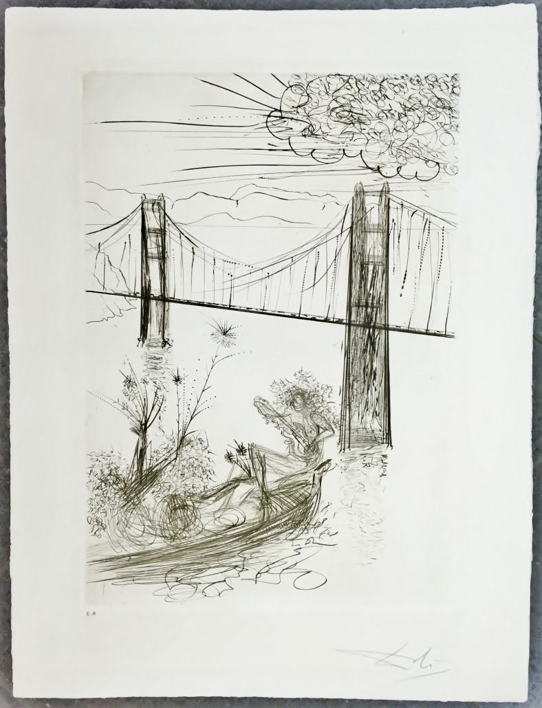 """ Golden Gate Bridge "", Kaltnadelradierung, 1970, Blatt 66,8 x 51cm, Motiv 52,0 x 36,3cm"