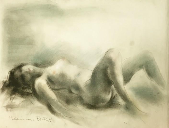Clemens Pasch - Nr. 201, o.T., Aktzeichnung auf Papier, 48,6 x 63,5cm